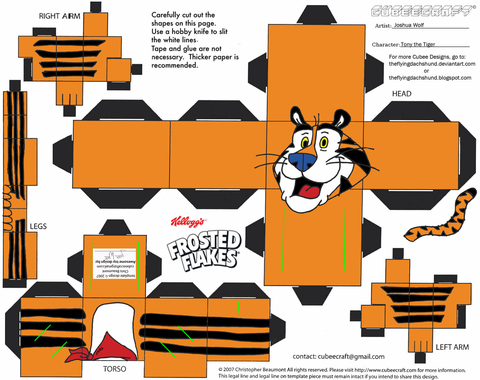 Tony the Tiger Paper Toy Free Printable Papercraft Templates