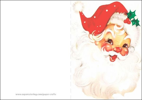 Vintage Santa Claus Card Template Free Printable Papercraft Templates