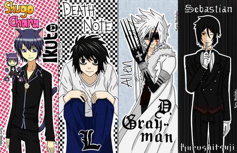 Shugo Chara, Death Note, D Gray Man and Kurochitsuji Bookmarks