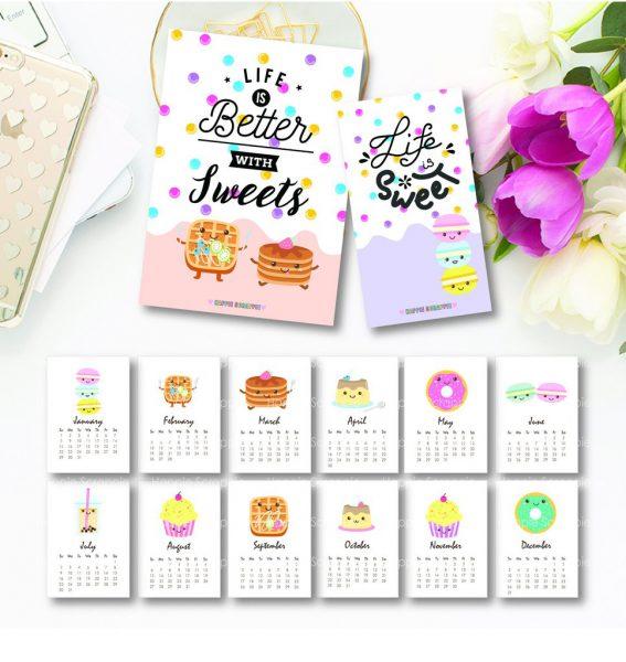 2017 Cute Calendar Printables - Super Cute Kawaii!!