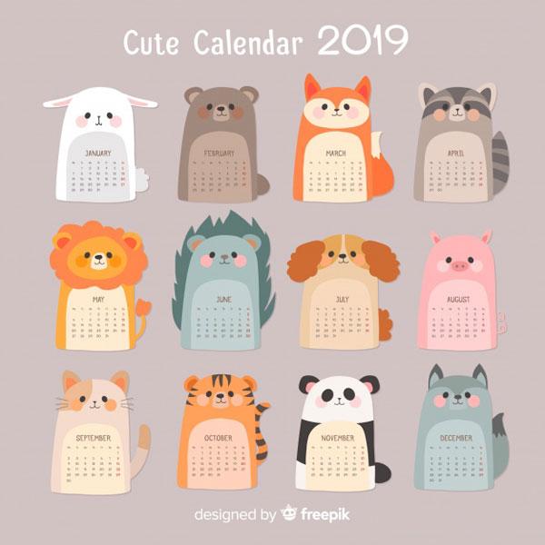 Cute 2019 Printable Calendars - Super Cute Kawaii!!