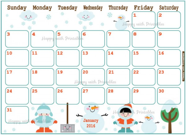 Printable Calendars for 2016 - Super Cute Kawaii!!