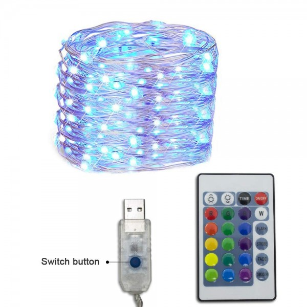 33ft RGB 100 LED Dimmable Christmas Light-16 Colors Changeble String