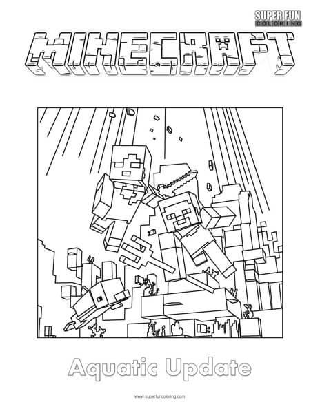 Minecraft Aquatic Update Coloring Page - Super Fun Coloring