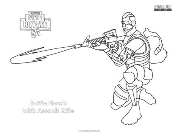 Comfortable Assault Rifle Fortnite Coloring Page Super Fun Coloring