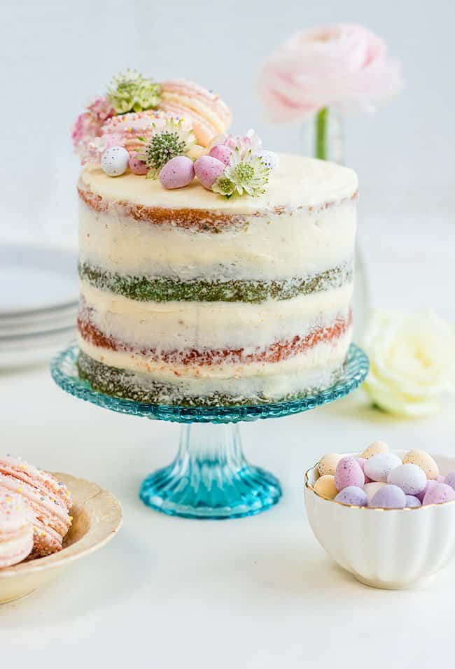 Coconut vanilla naked cake with coloured layers