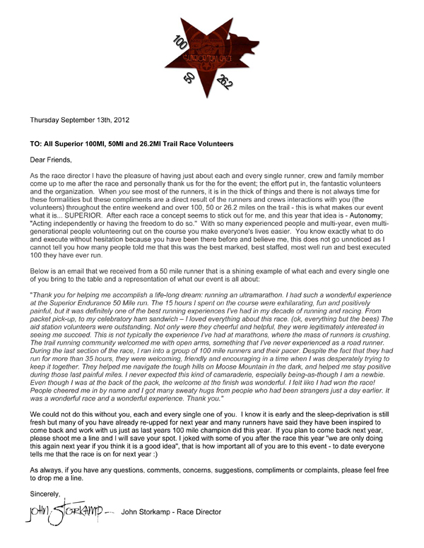 Thank You Letter to Volunteers \u2013 2012 Superior Fall Trail Race - volunteer thank you letter