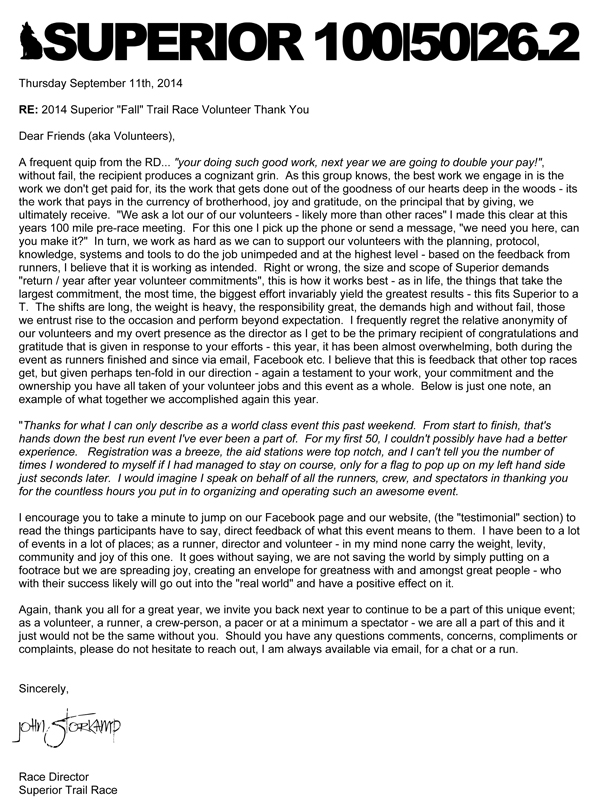Thank You Letter To Volunteers \u2013 2014 Superior Fall Trail Race - volunteer thank you letter