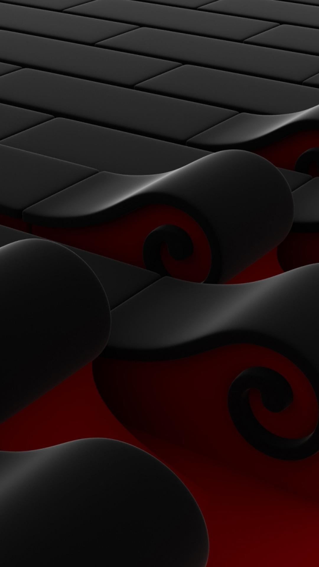 Cute Halloween Wallpapers For Android Abstract 3d Black And Red Waves Wallpaper Download 1080x1920