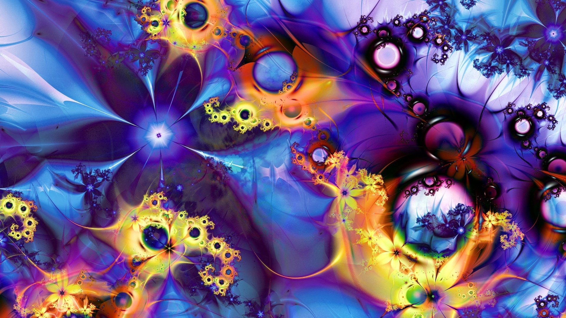 3d Fractal Wallpapers Hd Abstract Colorful Fractal With Many Flowers