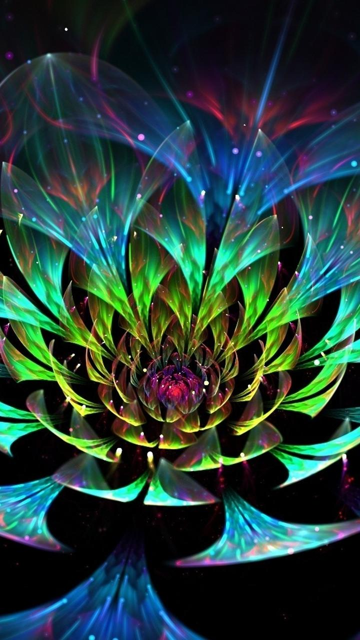 Spring Flowers 3d Live Wallpaper Abstract Colorful Lotus 3d Flower Art Design Wallpaper