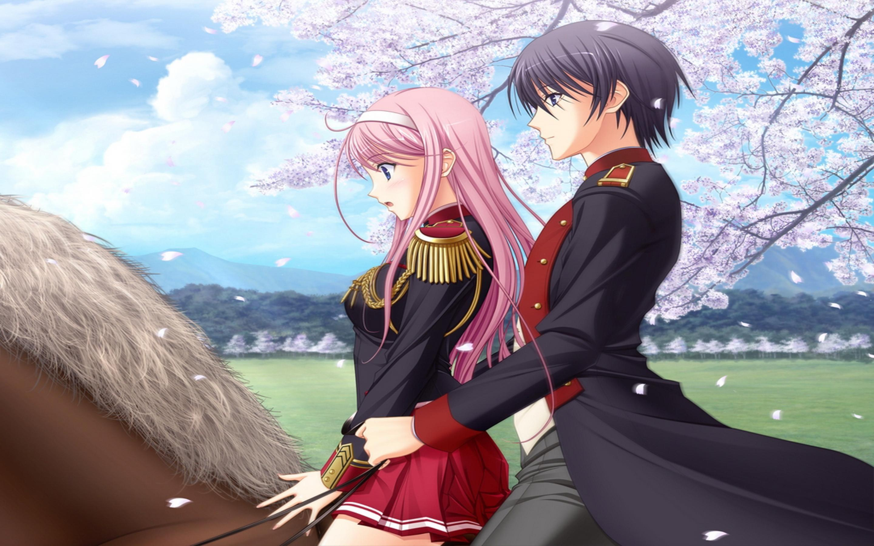 Cartoon Cute Couple Wallpaper An Anime Couple On A Brown Horse In A Spring Day