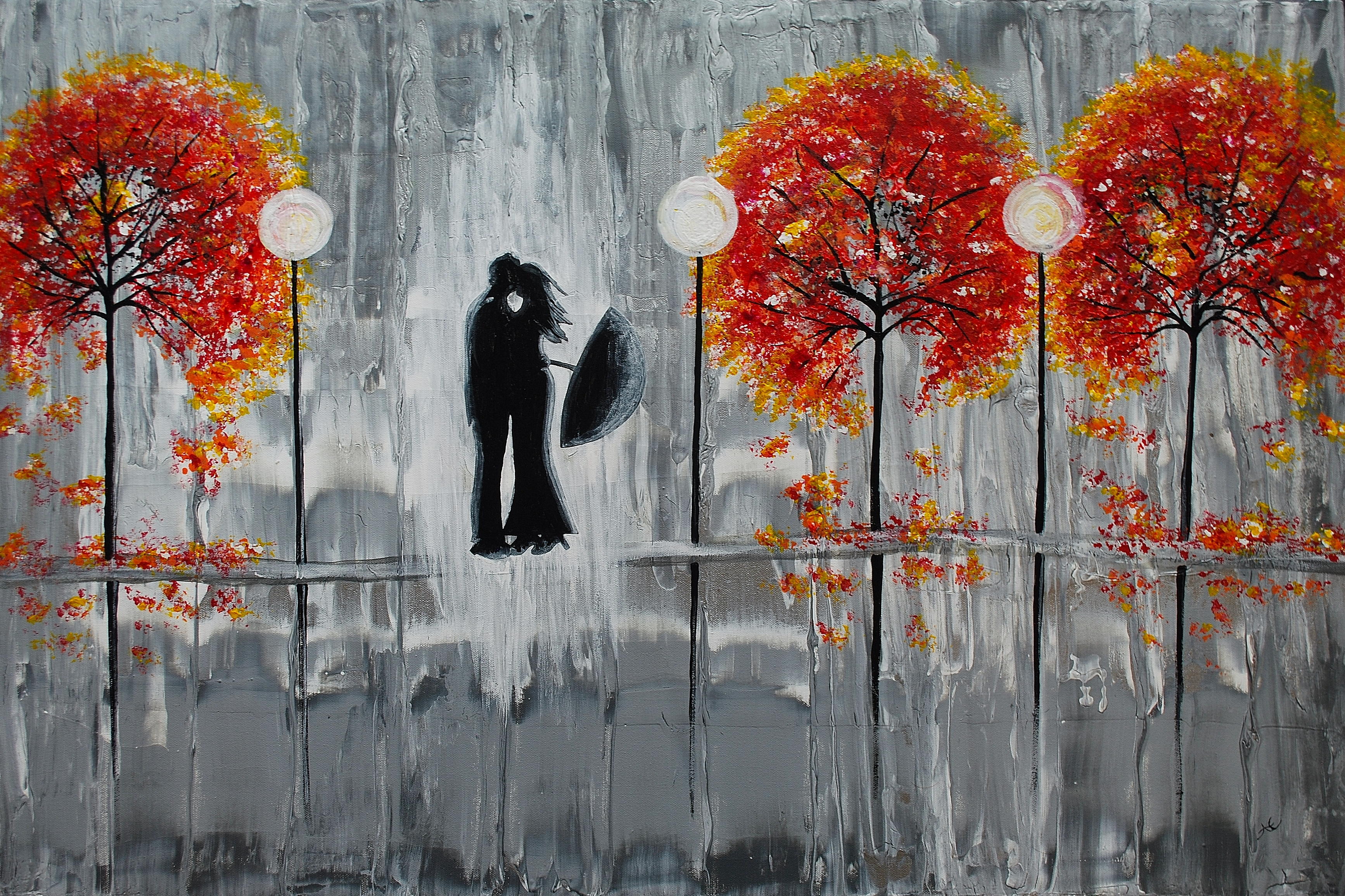 Fresh New Fall Hd Wallpapers Beautiful Grey Painting Two Lovers In The Rain