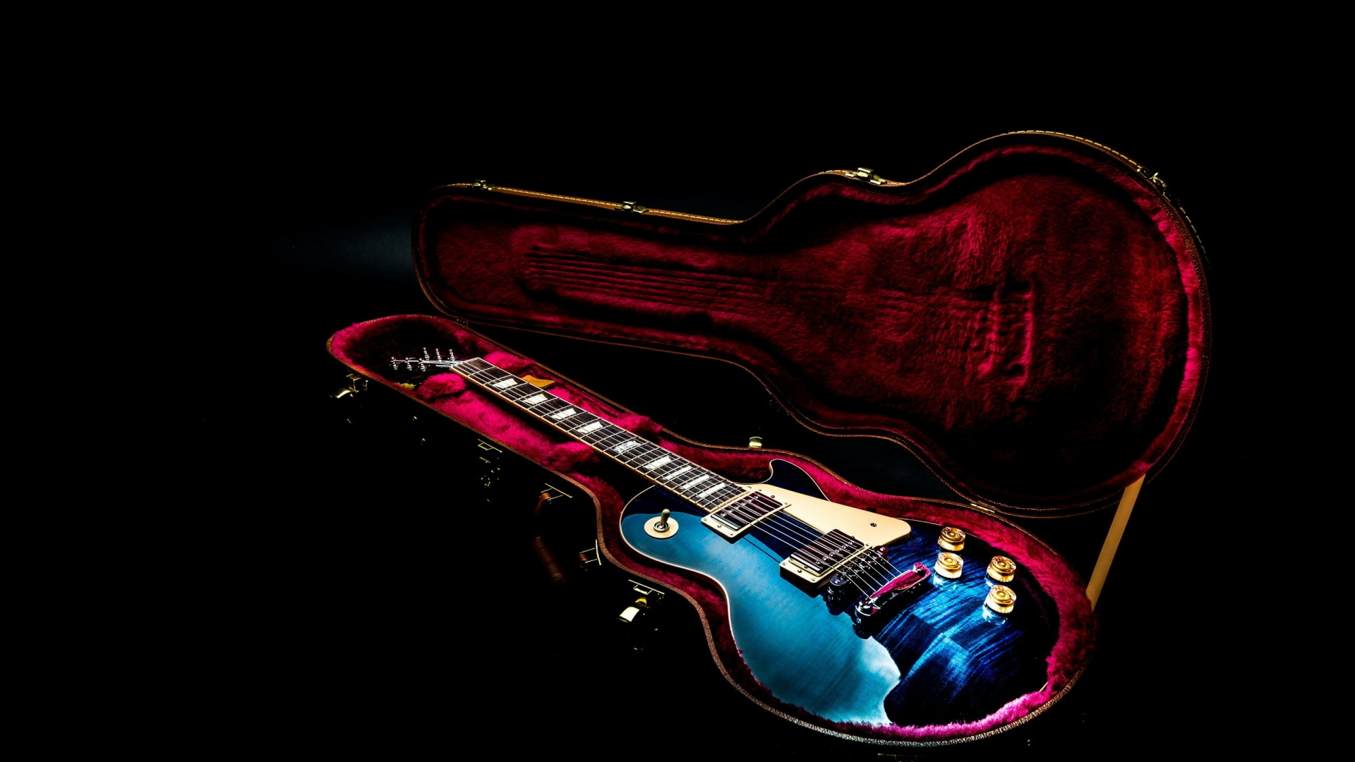 3d Cartoon Love Wallpaper Download Colorful Guitar In A Red Cover Music Wallpaper