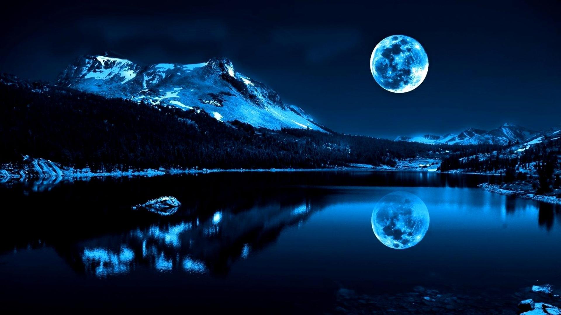 Desert Landscape Wallpaper Hd Full Moon In A Winter Night Wallpaper Download 1920x1080