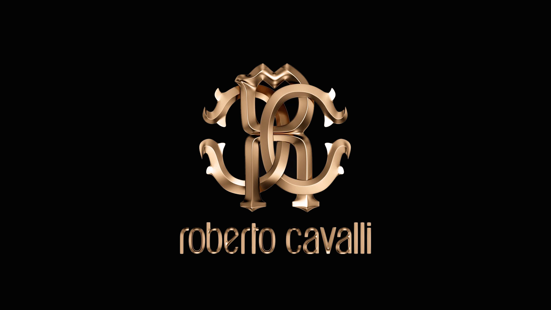 Cute Brand Wallpapers Luxury Roberto Cavalli Brand Gold Logo On The Wallpaper