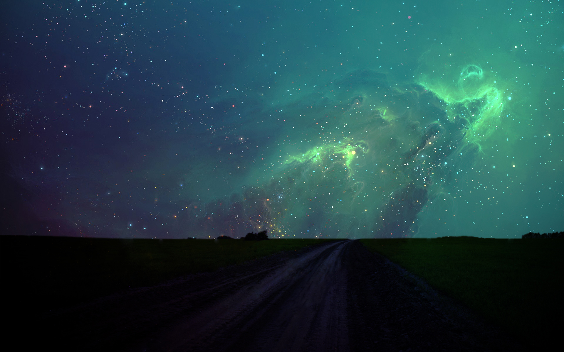 Cute 3d Cartoon Wallpapers Night Stars And Green Sky