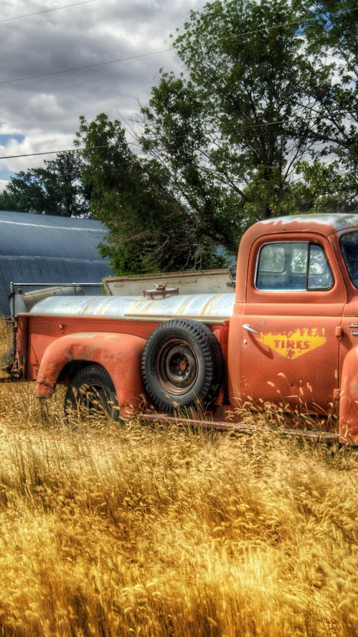 Classic Car Wallpaper 57 Chevy Old Red Truck In The Wheat Field Hd Wallpaper Wallpaper