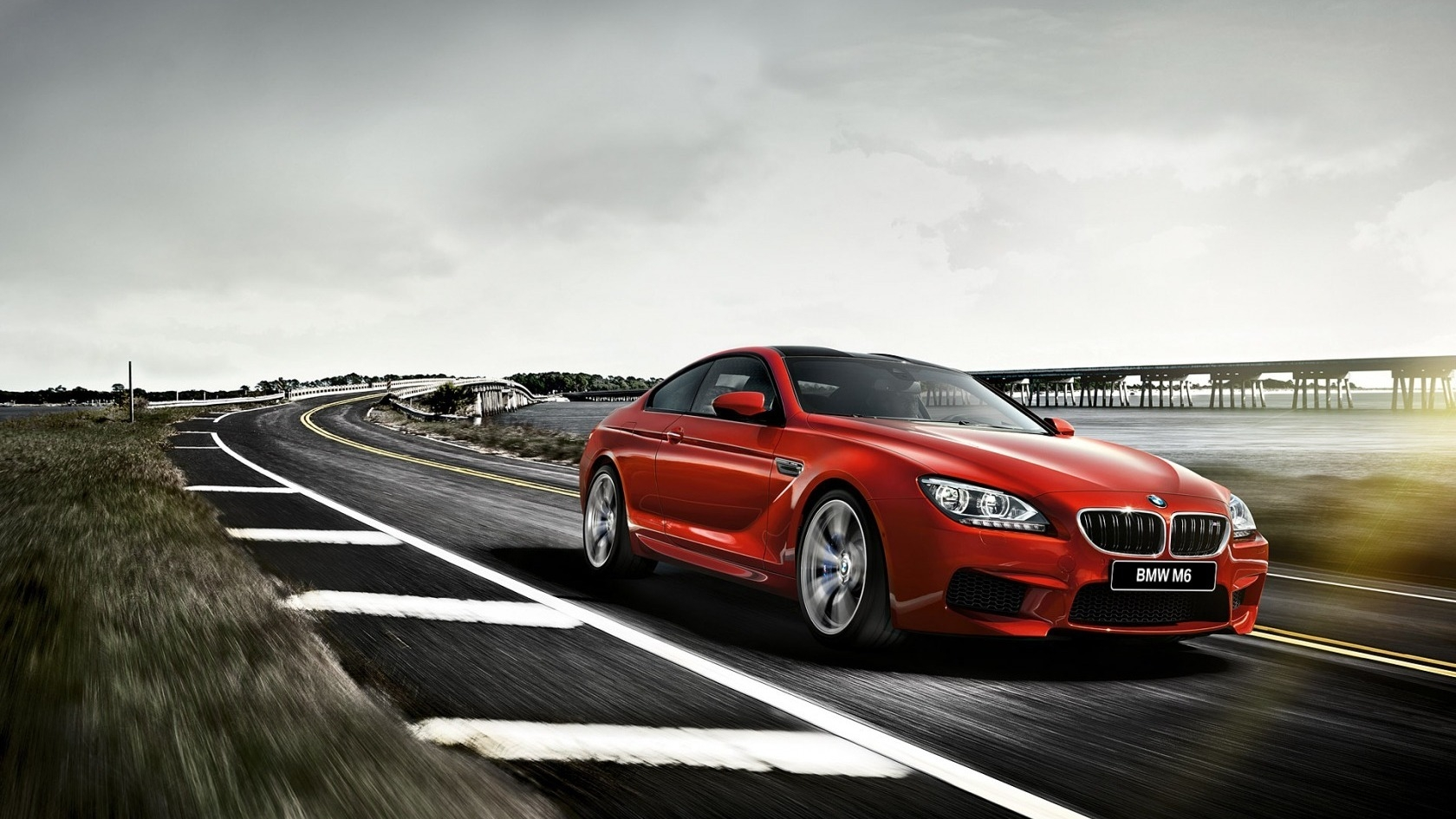Cute Cartoon Nature Wallpapers Red Bmw M6 F13 Coupe On Road Gorgeous Car