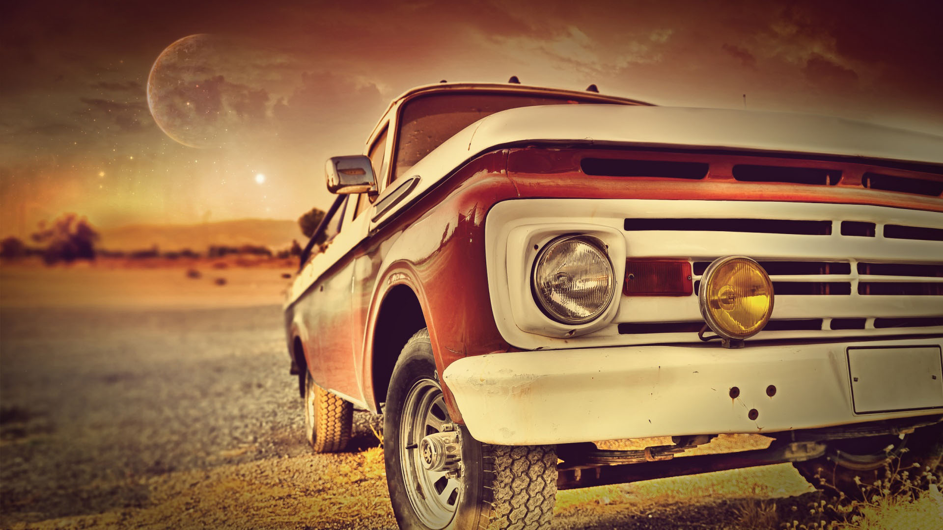 Cute Wallpapers For Girls 7 Year Old Vintage Red Car In The Sunset Hd Wallpaper Old Car