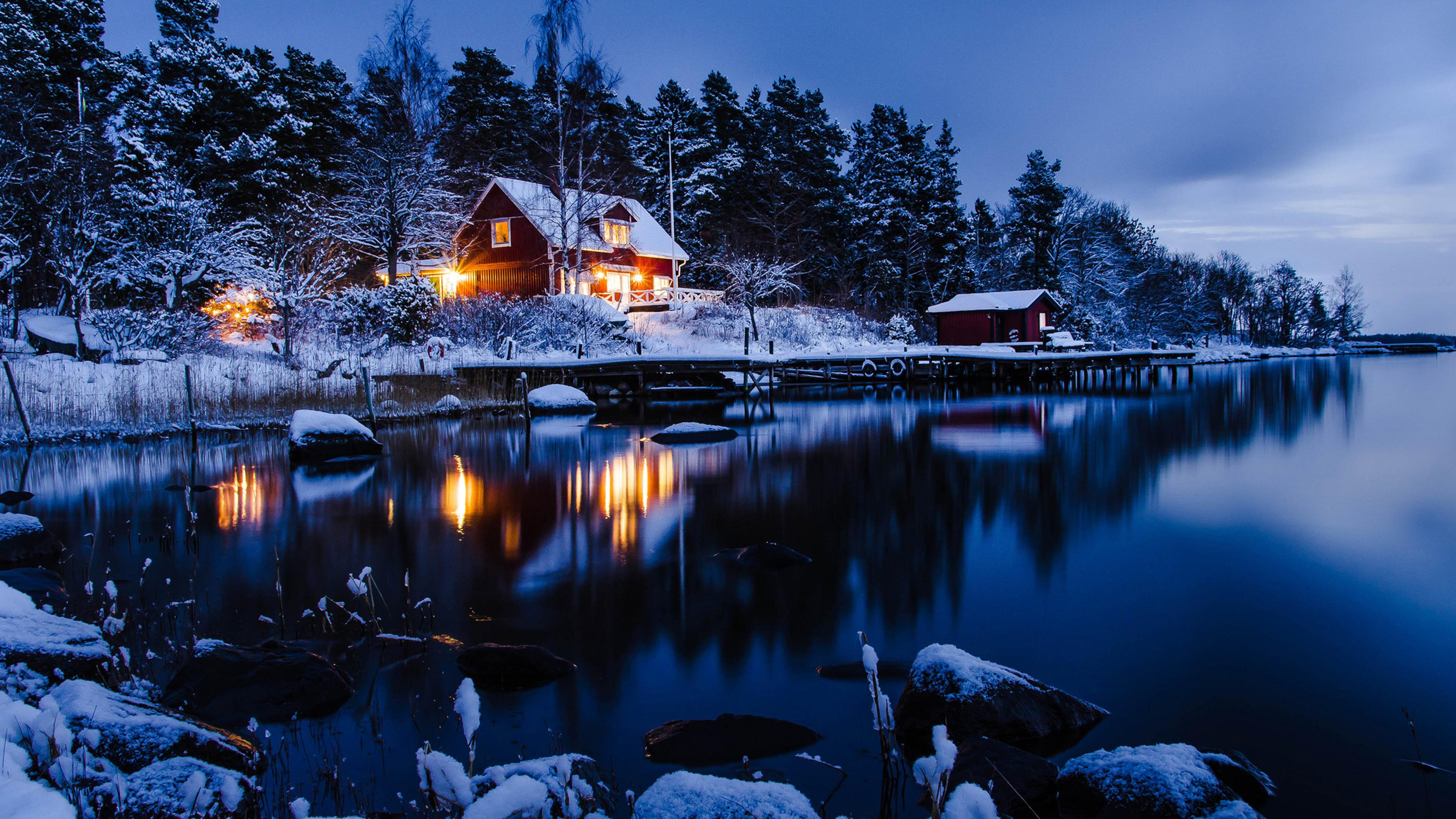 3d Cartoon Wallpapers Download Winter Holiday Night At The Cottage In The Mountain