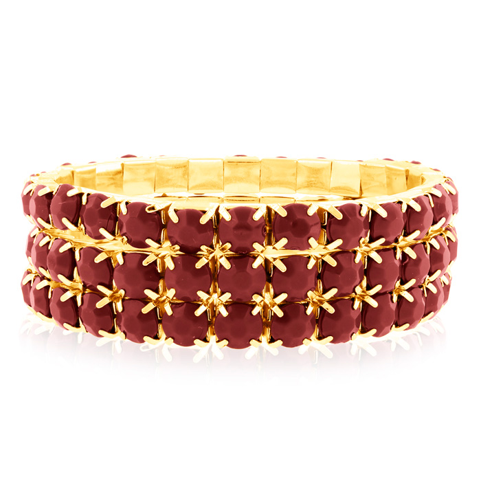 Set of Three Ruby Red Crystal Bracelets in Gold Overlay