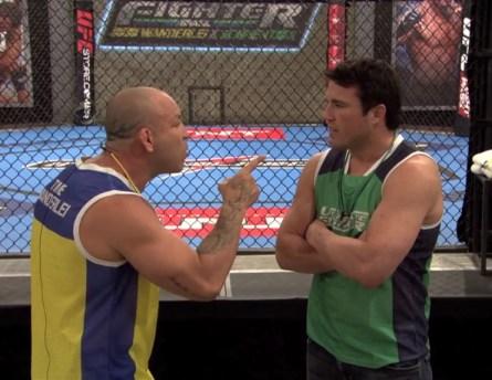 Wand (esq.) e Sonnen (dir.) discutem durante o TUF Brasil 3. Foto: Reprodução/YouTube