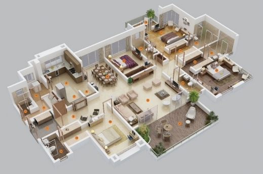 Wonderful 4 Bedroom Apartment 3d Layout Bedroom Apartmenthouse Plans - Apartment House Plans