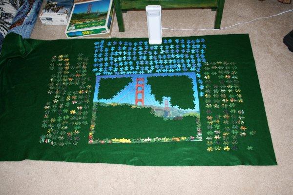 DIY Puzzle mat in use.