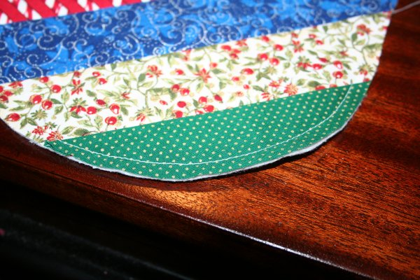 Baste toe to hold fabric in place