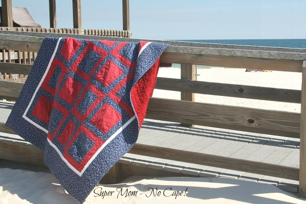 4th of July Picnic Quilt Draped Over Railing