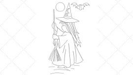 Vintage Workbasket - Embroidery Pattern - Halloween Witch