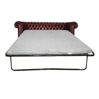 Chesterfield Oxblood Red Real Leather 3 Seater Sofa Bed