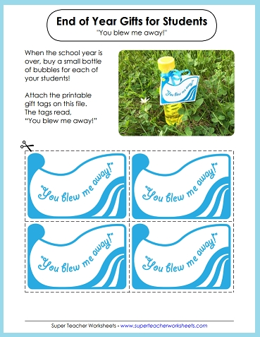 End of the Year Gift Bubbles - Printable Gift Tags