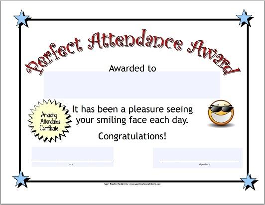 printable perfect attendance award - Doritmercatodos