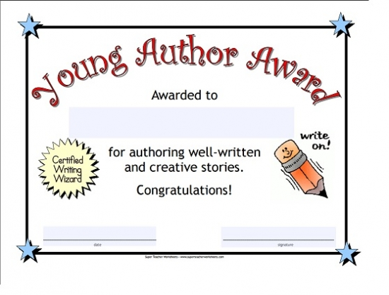Young Author Award Certificate