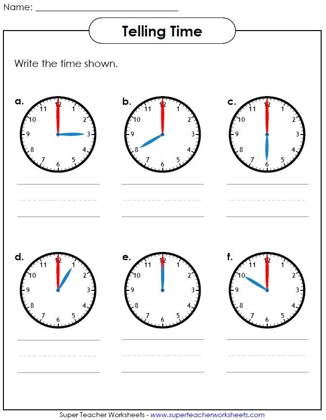 Printable Worksheet for Telling Time - time worksheets