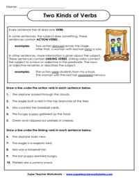 Super Teacher Worksheet Linking Verbs - Kidz Activities