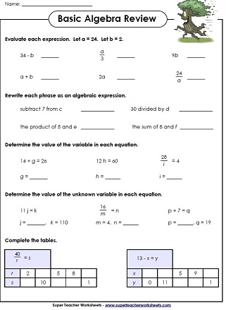 writing algebraic equations