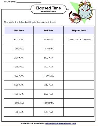 Elapsed Time Worksheets  Math Time Worksheets