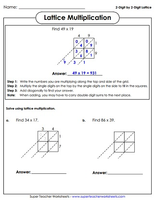 Lattice Multiplication Worksheets