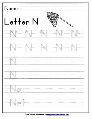 Letter N Worksheets - Recognize, Trace,  Print