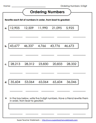 Place Value Worksheets (5-Digit Numbers)