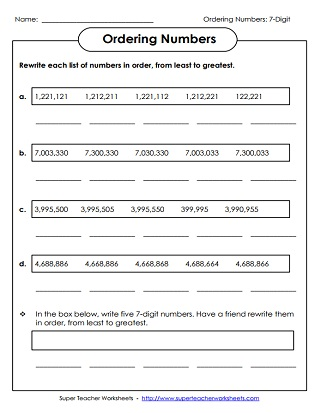 Place Value Worksheets (7 Digits or More)