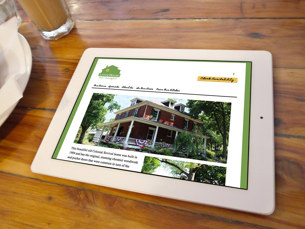 Image of Lititz House website on a tablet