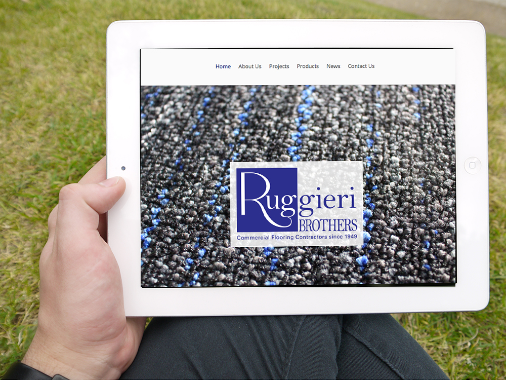 Image of Ruggieri Brothers website on a tablet