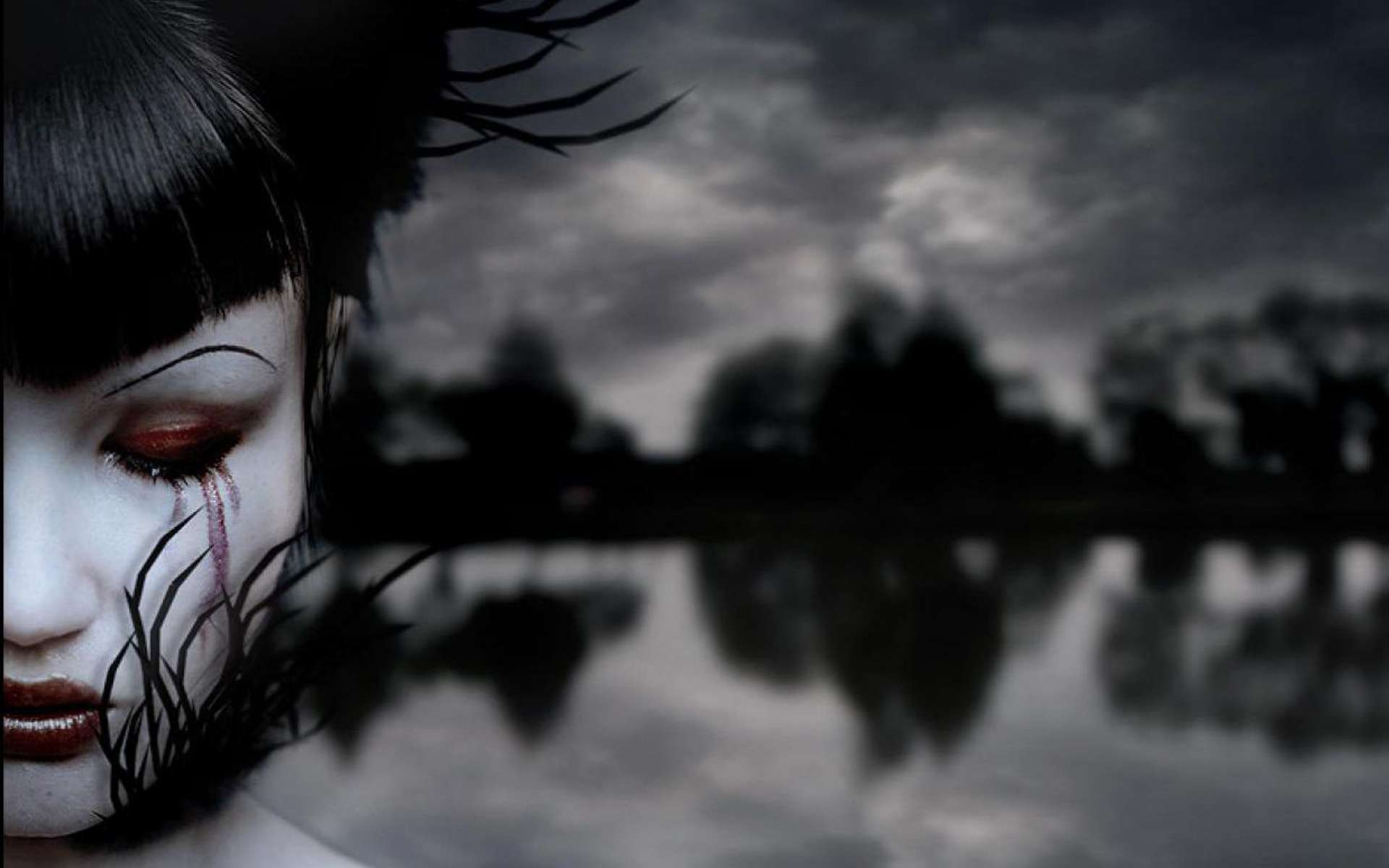 Lonely Girl Wallpaper Download Free Blood Weeping Eyes Hd Wallpapers