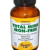 Multi Mineralen Supplement met Boron, IJzervrij, Glutenvrij (120 tabletten) - Country Life