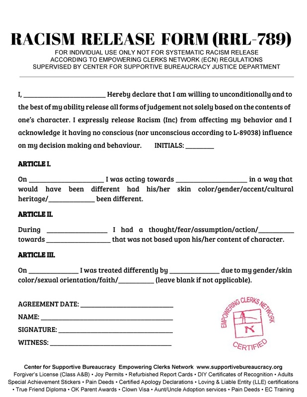 Racism Release Form