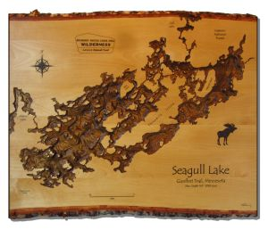 seagull lake depth map routered into white birth